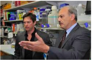 Dr. Dennis Slamon and Harry Conick Jr. discuss Herceptin during shooting the film: